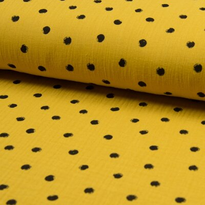 Printed Double gauze - Dots Curry