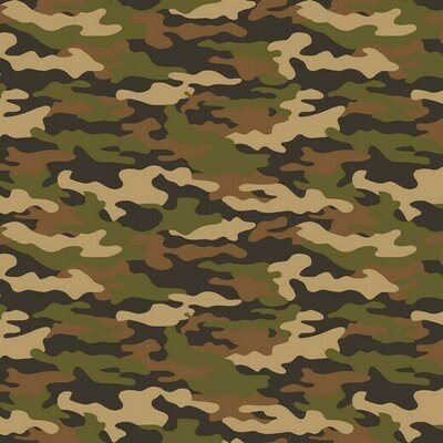 Printed Poplin - Army Camouflage Beige