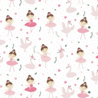 Printed Poplin - Ballerina Swan And Roses White