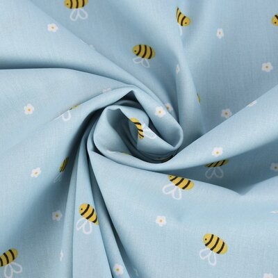 Printed Poplin - Bees & Flowers Blue