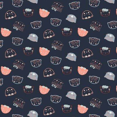 Printed Poplin - Chic Cats Navy