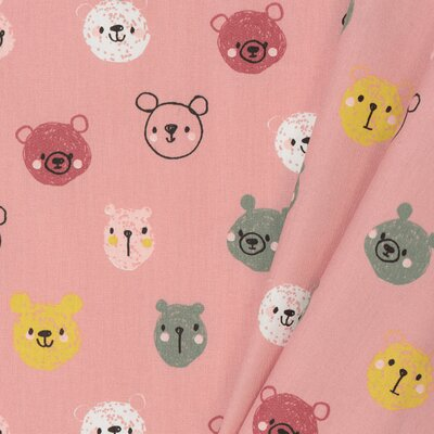 Printed Poplin - Cute Bears Blush