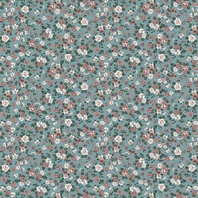 Printed Poplin - Romantic Flowers Aqua