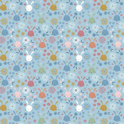 Printed Poplin - Sweet Bunny Light Blue