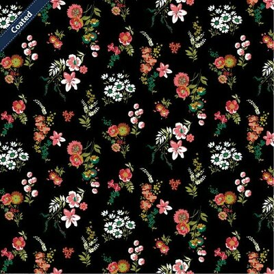 Bumbac Coated peliculizat - Flowery Black