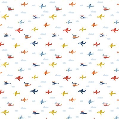 Bumbac imprimat Brushed - Airplanes White