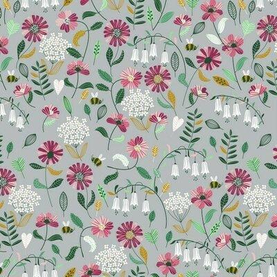 Bumbac imprimat Brushed - Flower Grey