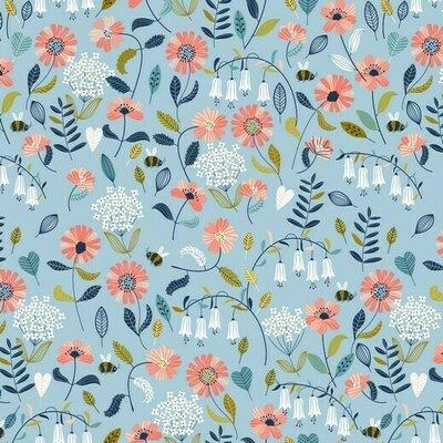 Bumbac imprimat Brushed - Flower Light Blue