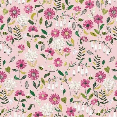 Bumbac imprimat Brushed - Flower Light Rose
