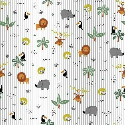 Bumbac imprimat Brushed - Jungle Party Grey