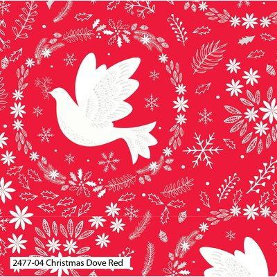 Bumbac Imprimat - Christmas Dove Red