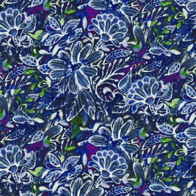 Bumbac imprimat digital - Batik Style Blue Green