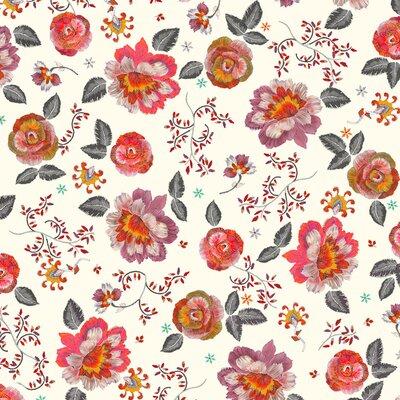 Bumbac imprimat digital - Irene White-Red