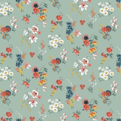 Bumbac imprimat - Flowery Old Green