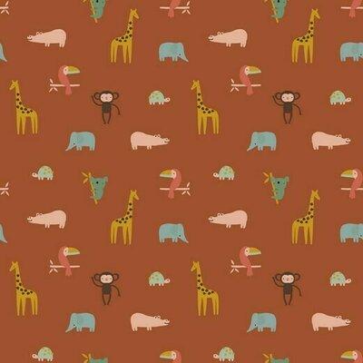Bumbac imprimat - Happy Animals Terra