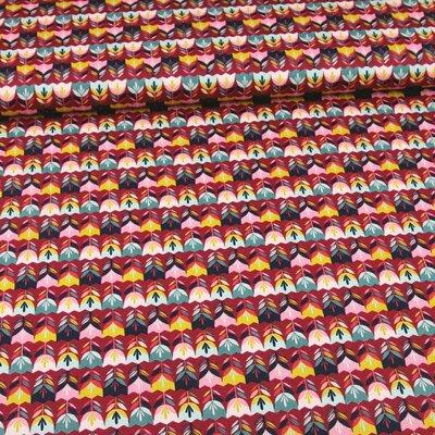 Bumbac imprimat - Happy Tulips Cerise