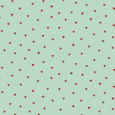 Bumbac imprimat - Heart Mint/Red