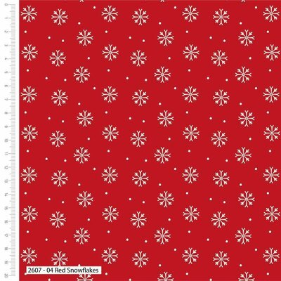 Bumbac Imprimat - Red Snowflakes
