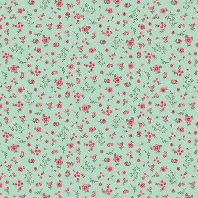 Bumbac organic imprimat - Flower Mint