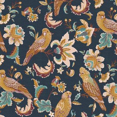 Bumbac organic imprimat - Tropical Birds Navy