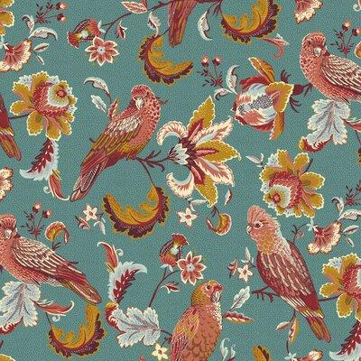 Bumbac organic imprimat - Tropical Birds Teal