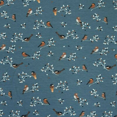Jerse Bumbac imprimat - Birds Dusty Blue