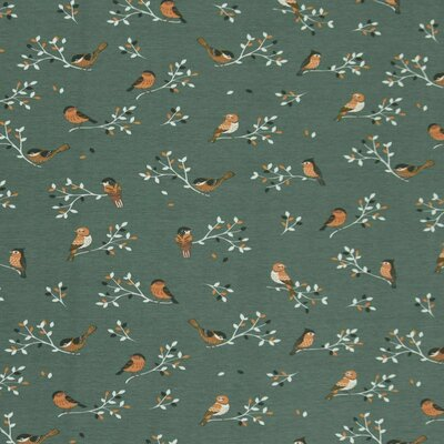 Jerse Bumbac imprimat - Birds Dusty Green