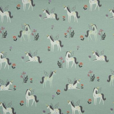 Jerse Bumbac imprimat - Flying Unicorns Dusty Mint