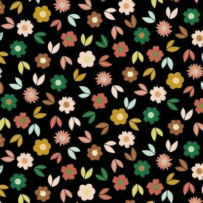 Jerse French terry - Flowers Black