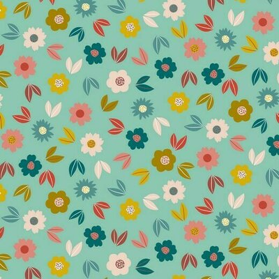 Jerse French terry - Flowers Mint