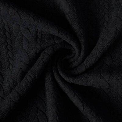 Jerse Jacquard Cable Knit - Black