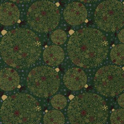 Material bumbac - Christmas Globes Green