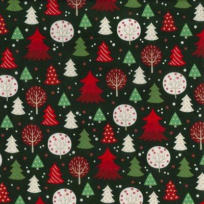 Material bumbac - Christmas  Trees Green