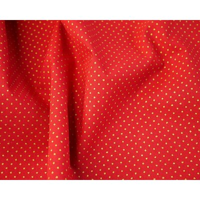 Material bumbac - Metallic Pin Spot Red