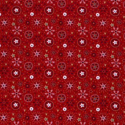 Material bumbac - Red Scandi Snowflakes