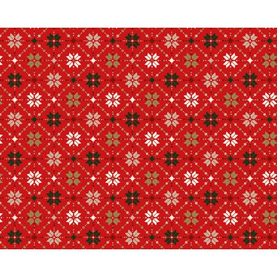 Material bumbac - Snowflake Metallic Fair Isle Red