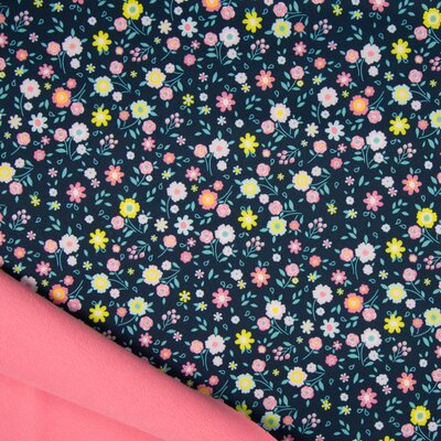 Material impermeabil si calduros Soft Shell - Flowers Navy