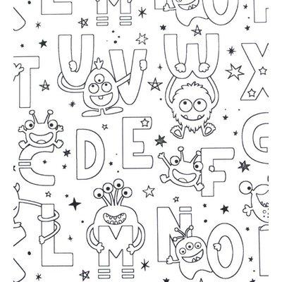 Material textil de colorat - Funny Letters