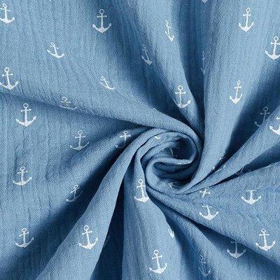 Muselina imprimata - Anchors Bleu