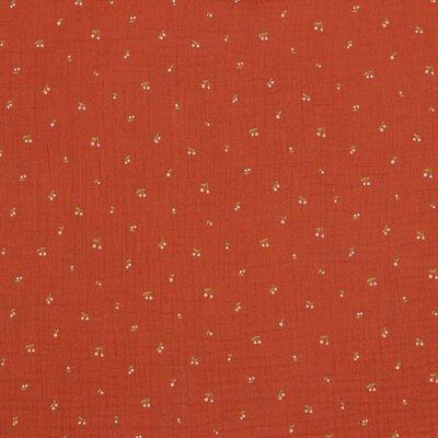 Muselina organica imprimata - Cherry Terra