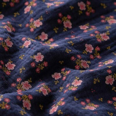 Muselina organica imprimata - Sweet Flowers Marine