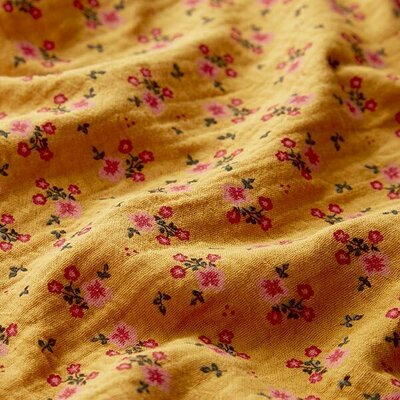 Muselina organica imprimata - Sweet Flowers Mustard