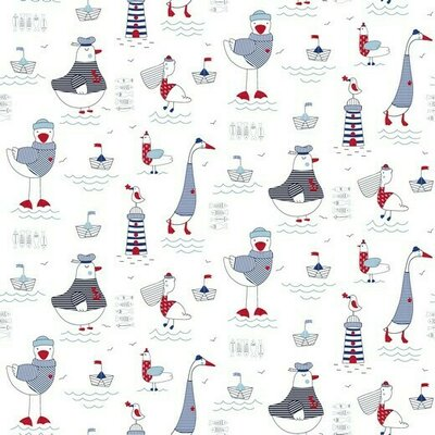 Poplin imprimat - At the Beach Birds White