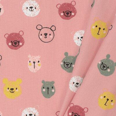 Poplin imprimat - Cute Bears Blush