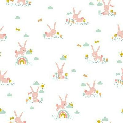 Poplin imprimat - Cute Rabbit White