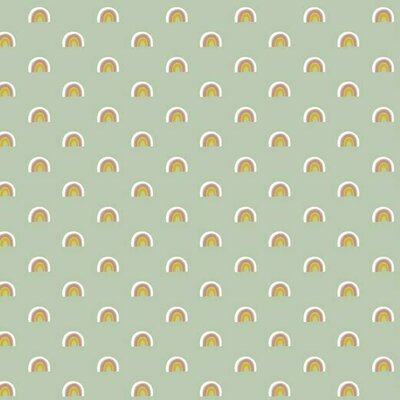 Poplin imprimat - Cute Rainbows Mint