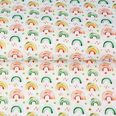 Poplin imprimat digital - Rainbows Drops and Stars