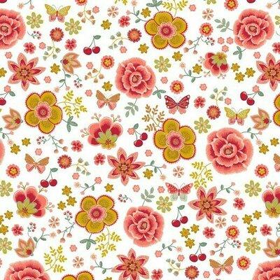 Poplin imprimat -  Flowers & Cherry White