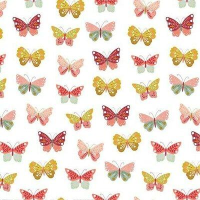 Poplin imprimat -  Happy Butterfly White