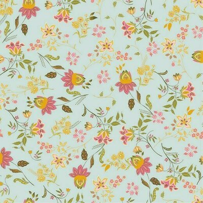 Poplin imprimat - Lovely Flowers Mint